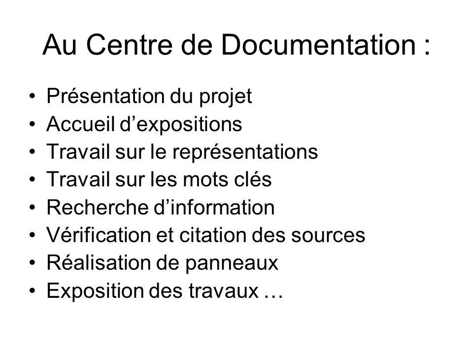 Au Centre de Documentation : Présentation du projet Accueil dexpositions Travail sur le représentations Travail sur les mots clés Recherche dinformati