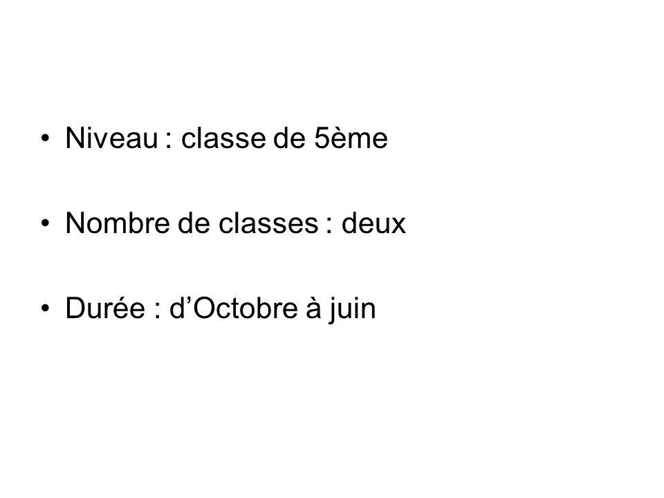 Niveau : classe de 5ème Nombre de classes : deux Durée : dOctobre à juin
