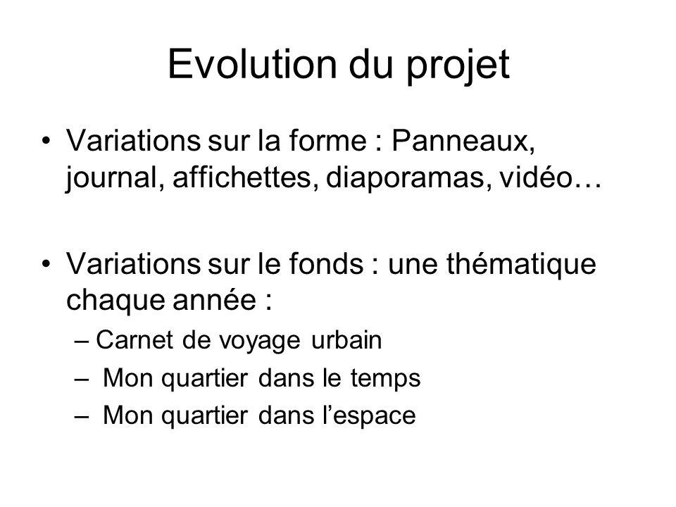 Evolution du projet Variations sur la forme : Panneaux, journal, affichettes, diaporamas, vidéo… Variations sur le fonds : une thématique chaque année