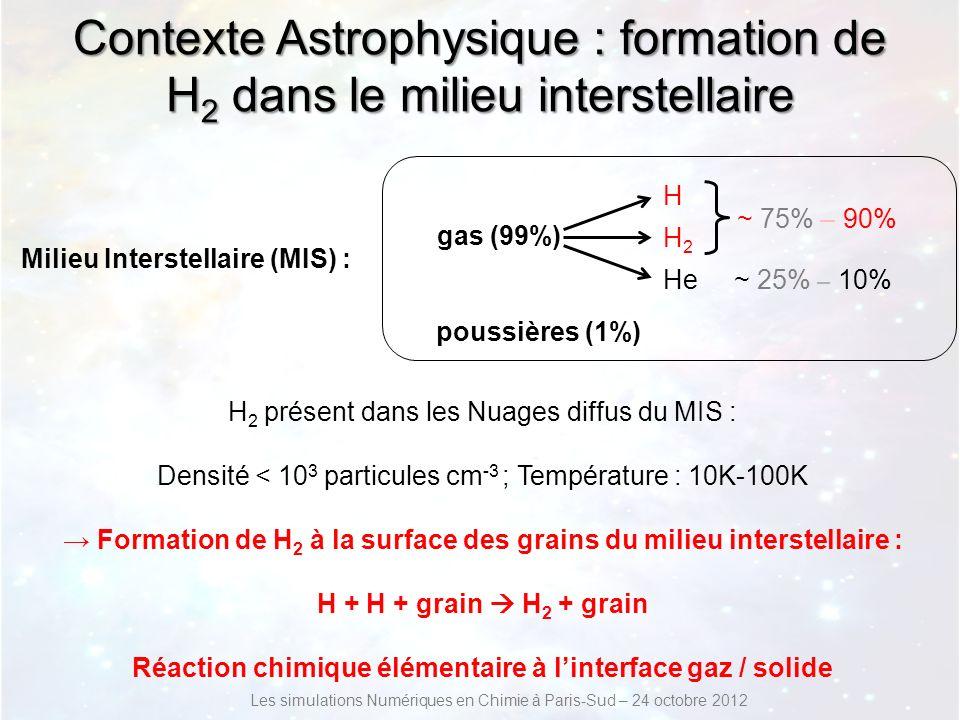 Grains carbonés du MIS Grains carbonés : graphitiques, graphéniques, amorphes ou moléculaires (PAH) : Taille : 5 nm – 0.25 μm Coronene C 24 H 12 CircumCoronene C 54 H 18 Graphene Les simulations Numériques en Chimie à Paris-Sud – 24 octobre 2012