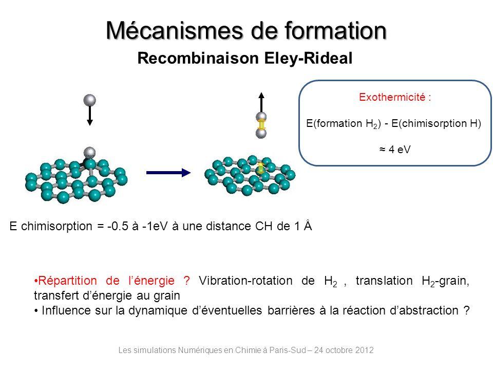 Méthodes Les simulations Numériques en Chimie à Paris-Sud – 24 octobre 2012 Séparation et approximation Born-Oppenheimer entre mouvement électronique et nucléaire I] Calculs des interactions atomes/molécule – grain : Surfaces dénergie potentielle réactives –Calculs quantiques DFT moléculaires ou périodiques prenant en compte le spin (formalisme non restreint) –E xc [ (r)] : fonctionnelles GGA PBE, RPBE, PW91 ( Perdew-Burke-Ernzerhof, Revised Perdew-Burke-Ernzerhof, Perdew-Wang 91) - calcul rapide et qualitativement comparable à MP2 (Natomes 100) -résultats obtenus à laide de fonctionnelles GGA système dépendants -ajout de termes correctifs pour les interactions de dispersion (van der Waals)