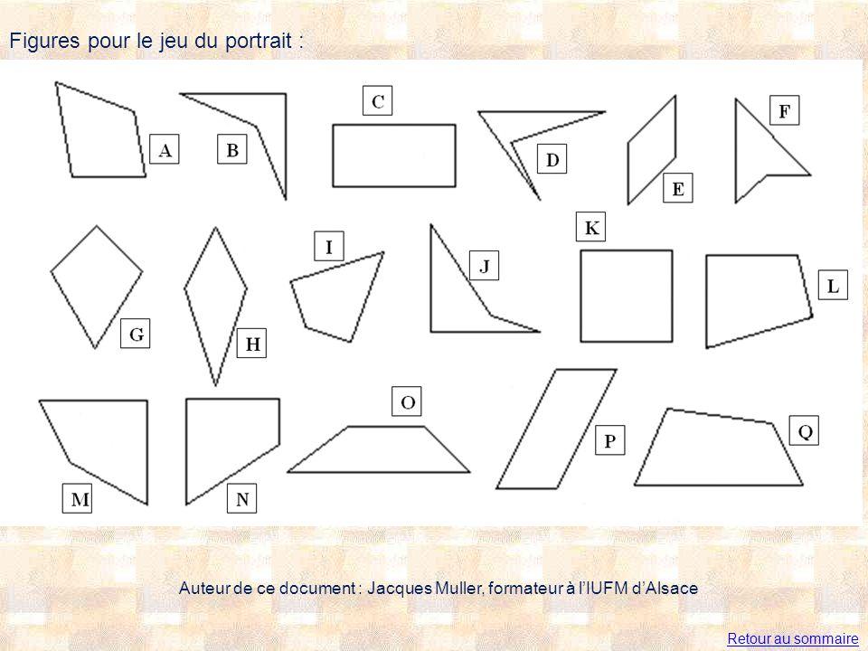 Figures pour le jeu du portrait : Auteur de ce document : Jacques Muller, formateur à lIUFM dAlsace Retour au sommaire