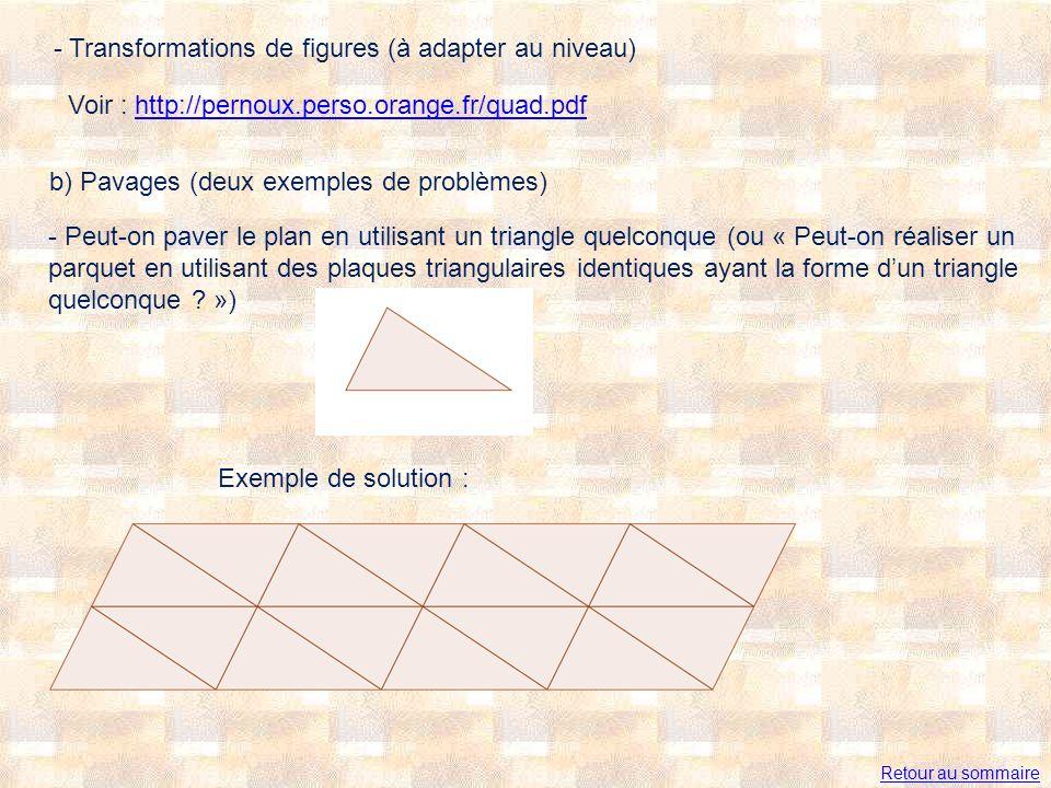 - Transformations de figures (à adapter au niveau) Voir : http://pernoux.perso.orange.fr/quad.pdfhttp://pernoux.perso.orange.fr/quad.pdf b) Pavages (deux exemples de problèmes) - Peut-on paver le plan en utilisant un triangle quelconque (ou « Peut-on réaliser un parquet en utilisant des plaques triangulaires identiques ayant la forme dun triangle quelconque .