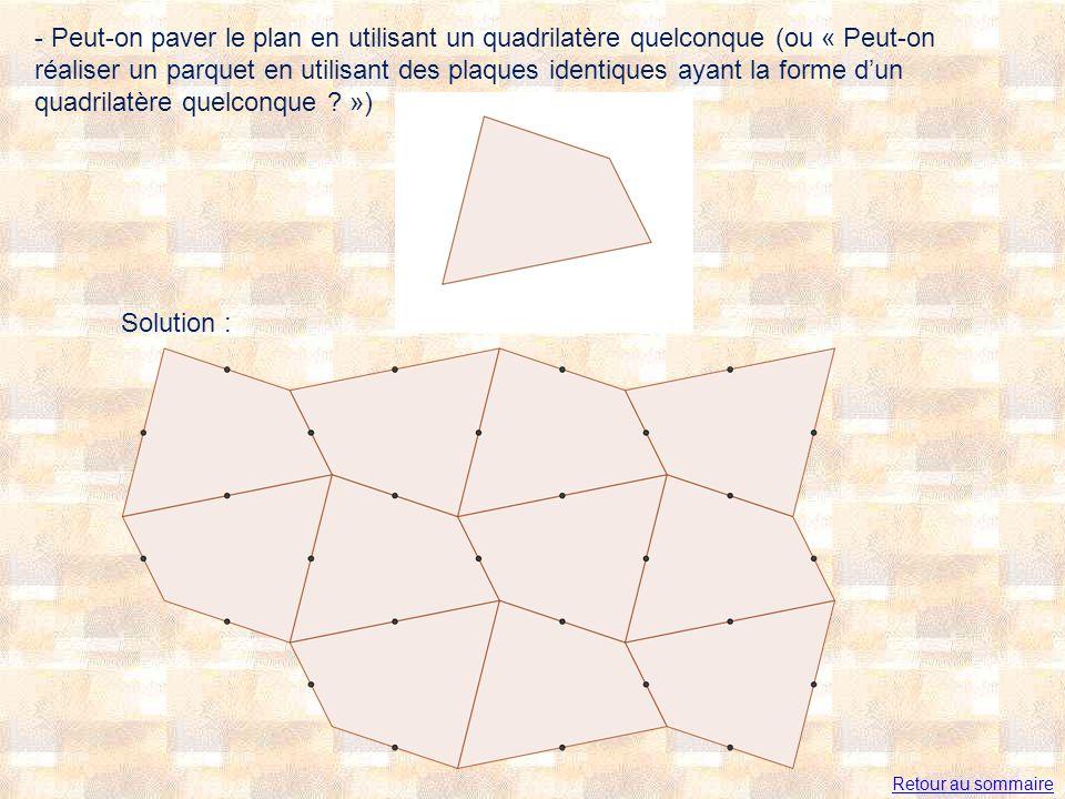 - Peut-on paver le plan en utilisant un quadrilatère quelconque (ou « Peut-on réaliser un parquet en utilisant des plaques identiques ayant la forme d