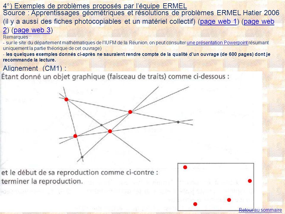 4°) Exemples de problèmes proposés par léquipe ERMEL Alignement (CM1) : Retour au sommaire Source : Apprentissages géométriques et résolutions de problèmes ERMEL Hatier 2006 (il y a aussi des fiches photocopiables et un matériel collectif) (page web 1) (page web 2) (page web 3)page web 1page web 2page web 3 Remarques : - sur le site du département mathématiques de l IUFM de la Réunion, on peut consulter une présentation Powerpoint résumant uniquement la partie théorique de cet ouvrage) - les quelques exemples donnés ci-après ne sauraient rendre compte de la qualité dun ouvrage (de 600 pages) dont je recommande la lecture.une présentation Powerpoint
