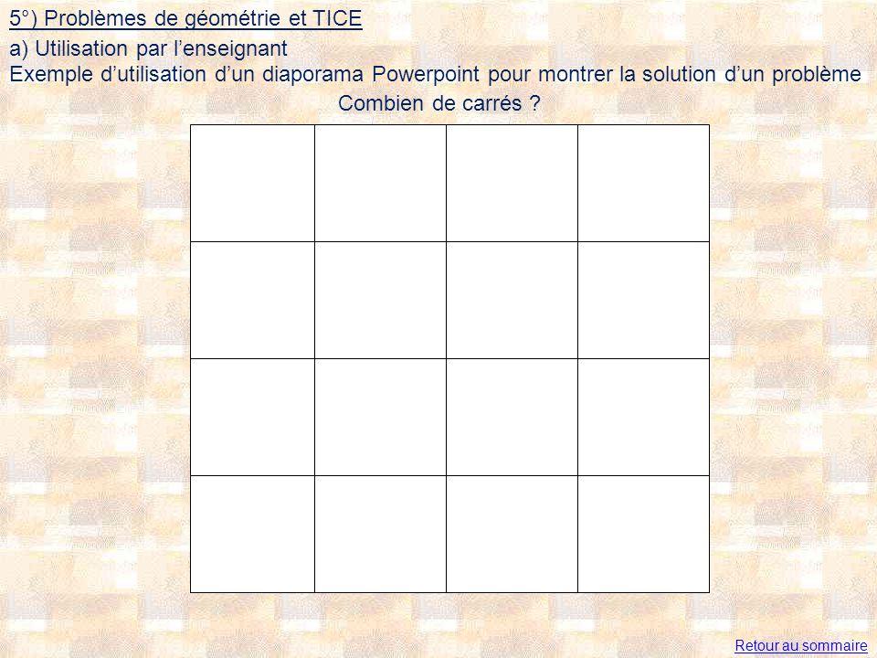 Combien de carrés ? Retour au sommaire 5°) Problèmes de géométrie et TICE Exemple dutilisation dun diaporama Powerpoint pour montrer la solution dun p