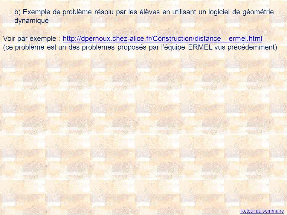 b) Exemple de problème résolu par les élèves en utilisant un logiciel de géométrie dynamique Voir par exemple : http://dpernoux.chez-alice.fr/Construction/distance__ermel.html (ce problème est un des problèmes proposés par léquipe ERMEL vus précédemment)http://dpernoux.chez-alice.fr/Construction/distance__ermel.html Retour au sommaire