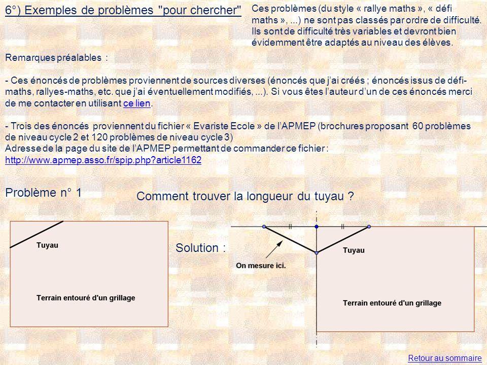 Problème n° 1 Comment trouver la longueur du tuyau ? Solution : 6°) Exemples de problèmes
