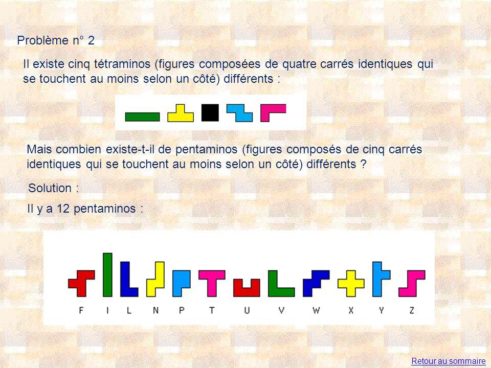 Problème n° 2 Il existe cinq tétraminos (figures composées de quatre carrés identiques qui se touchent au moins selon un côté) différents : Mais combien existe-t-il de pentaminos (figures composés de cinq carrés identiques qui se touchent au moins selon un côté) différents .