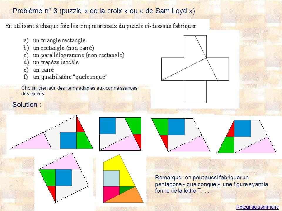 Problème n° 3 (puzzle « de la croix » ou « de Sam Loyd ») Choisir, bien sûr, des items adaptés aux connaissances des élèves Remarque : on peut aussi fabriquer un pentagone « quelconque », une figure ayant la forme de la lettre T,....