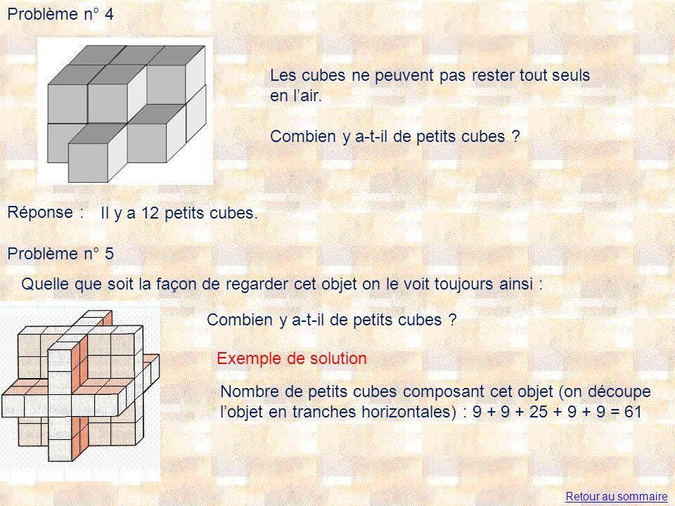 Problème n° 4 Les cubes ne peuvent pas rester tout seuls en lair. Combien y a-t-il de petits cubes ? Réponse : Il y a 12 petits cubes. Problème n° 5 Q