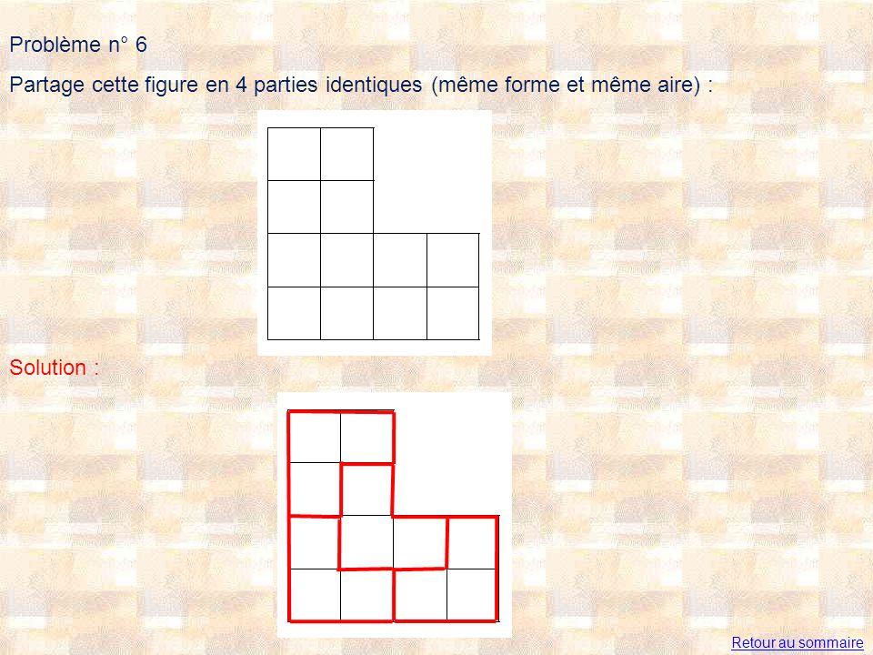 Problème n° 6 Partage cette figure en 4 parties identiques (même forme et même aire) : Solution : Retour au sommaire