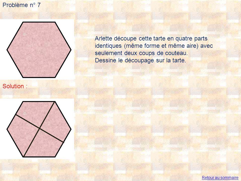 Problème n° 7 Arlette découpe cette tarte en quatre parts identiques (même forme et même aire) avec seulement deux coups de couteau. Dessine le découp