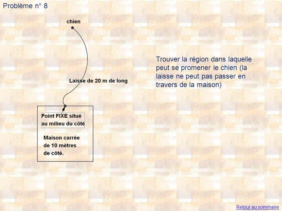 Problème n° 8 Trouver la région dans laquelle peut se promener le chien (la laisse ne peut pas passer en travers de la maison) Retour au sommaire