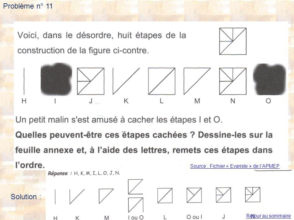 Problème n° 11 Source : Fichier « Evariste » de lAPMEP Solution : Retour au sommaire