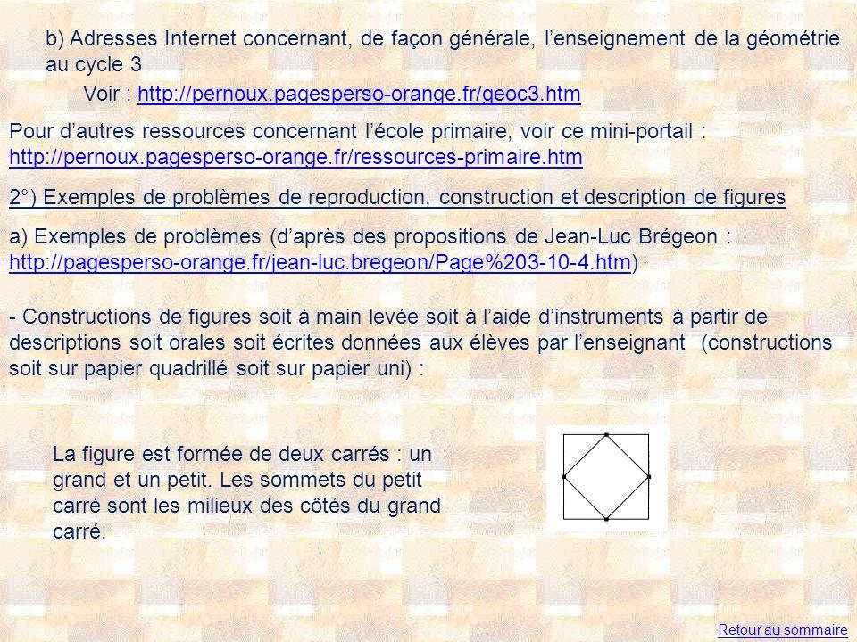 b) Adresses Internet concernant, de façon générale, lenseignement de la géométrie au cycle 3 Voir : http://pernoux.pagesperso-orange.fr/geoc3.htmhttp://pernoux.pagesperso-orange.fr/geoc3.htm 2°) Exemples de problèmes de reproduction, construction et description de figures a) Exemples de problèmes (daprès des propositions de Jean-Luc Brégeon : http://pagesperso-orange.fr/jean-luc.bregeon/Page%203-10-4.htm) http://pagesperso-orange.fr/jean-luc.bregeon/Page%203-10-4.htm - Constructions de figures soit à main levée soit à laide dinstruments à partir de descriptions soit orales soit écrites données aux élèves par lenseignant (constructions soit sur papier quadrillé soit sur papier uni) : La figure est formée de deux carrés : un grand et un petit.