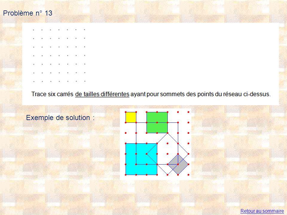 Problème n° 13 Exemple de solution : Retour au sommaire