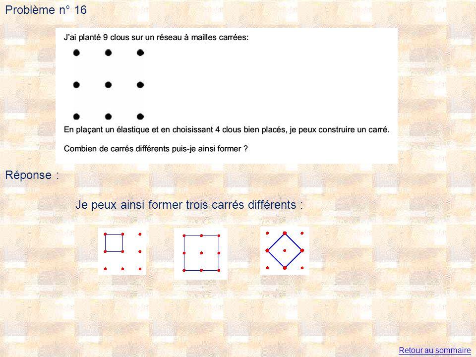 Problème n° 16 Réponse : Je peux ainsi former trois carrés différents : Retour au sommaire