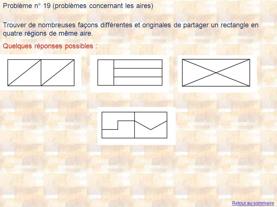 Trouver de nombreuses façons différentes et originales de partager un rectangle en quatre régions de même aire. Quelques réponses possibles : Problème