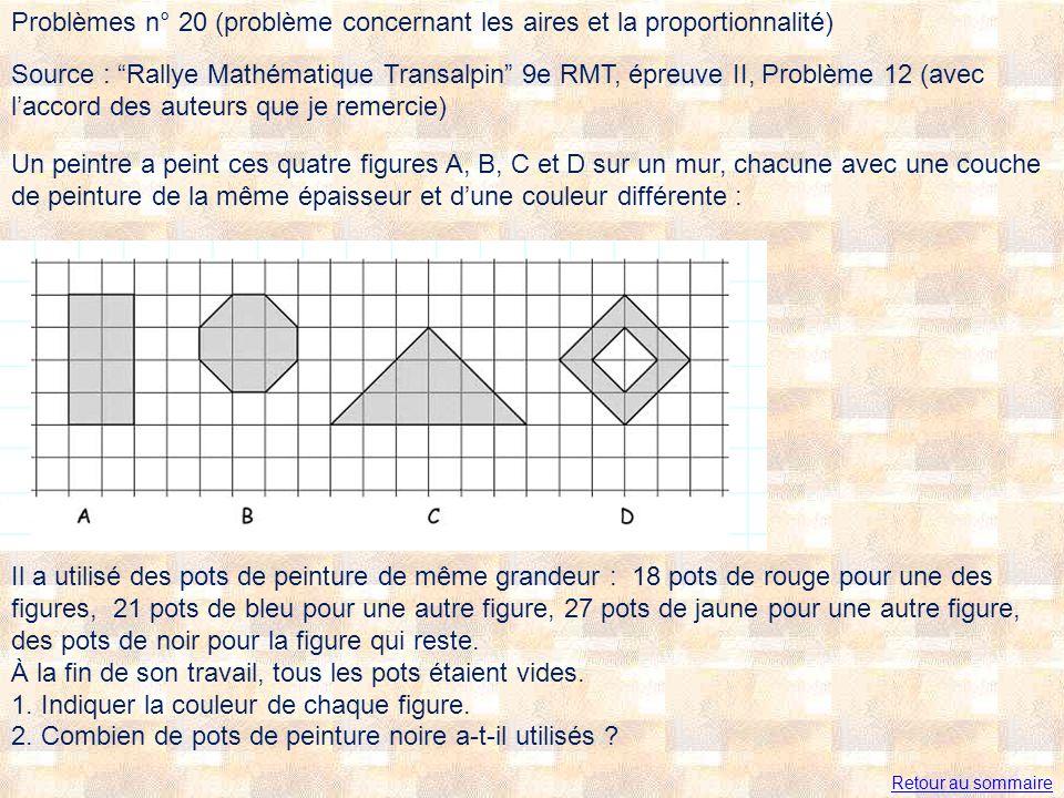 Problèmes n° 20 (problème concernant les aires et la proportionnalité) Un peintre a peint ces quatre figures A, B, C et D sur un mur, chacune avec une