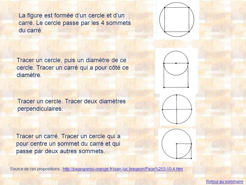 La figure est formée dun cercle et dun carré. Le cercle passe par les 4 sommets du carré. Tracer un cercle, puis un diamètre de ce cercle. Tracer un c
