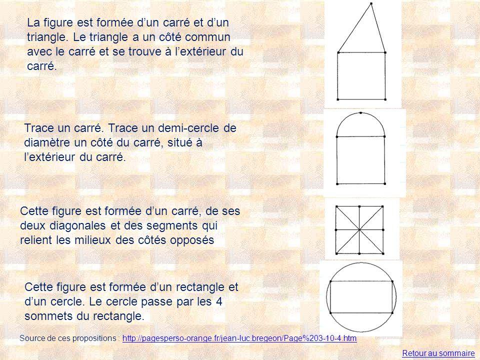 La figure est formée dun carré et dun triangle. Le triangle a un côté commun avec le carré et se trouve à lextérieur du carré. Trace un carré. Trace u