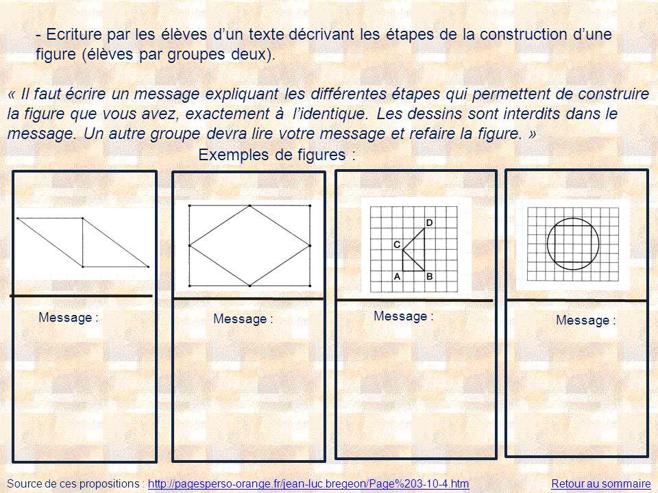 - Ecriture par les élèves dun texte décrivant les étapes de la construction dune figure (élèves par groupes deux). « Il faut écrire un message expliqu