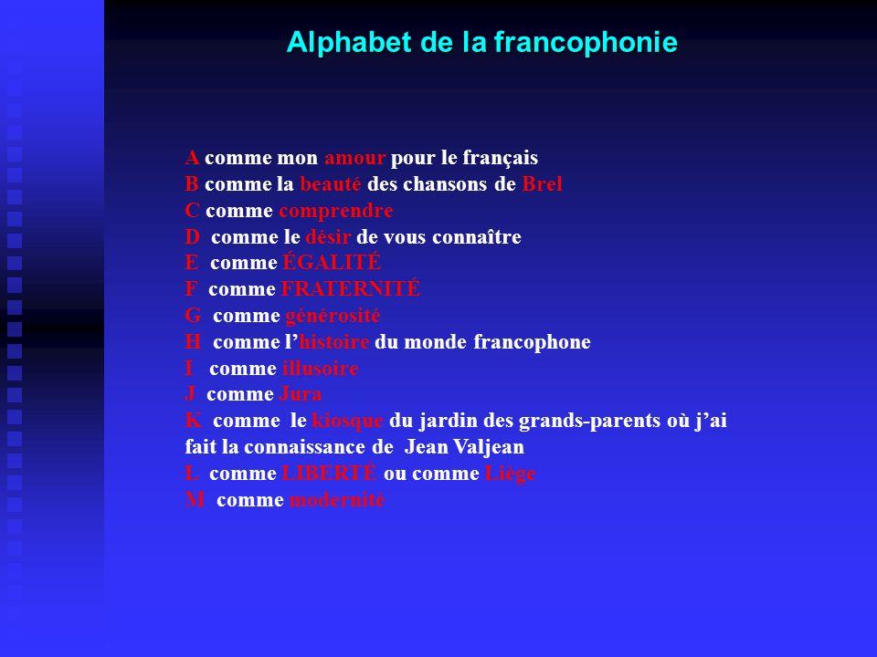 Alphabet de la francophonie A comme mon amour pour le français B comme la beauté des chansons de Brel C comme comprendre D comme le désir de vous conn