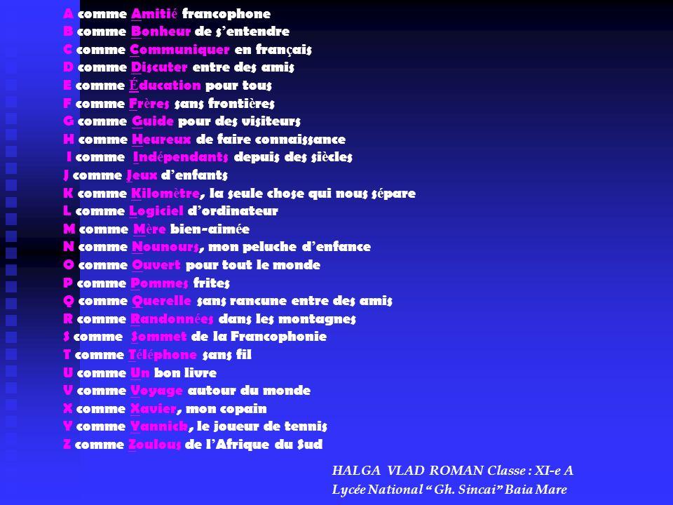 A comme Amiti é francophone B comme Bonheur de s entendre C comme Communiquer en fran ç ais D comme Discuter entre des amis E comme É ducation pour to