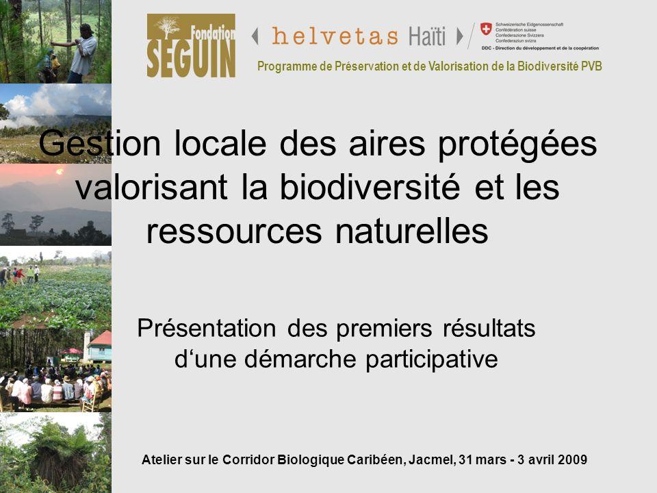 Programme de Préservation et de Valorisation de la Biodiversité PVB Présentation PVB Domaine : protection, gestion, valorisation de la réserve Zone d intervention : Unité 2 et zones tampons proches (au-dessus de 1 500 m d altitude) Phase préliminaire (sept.