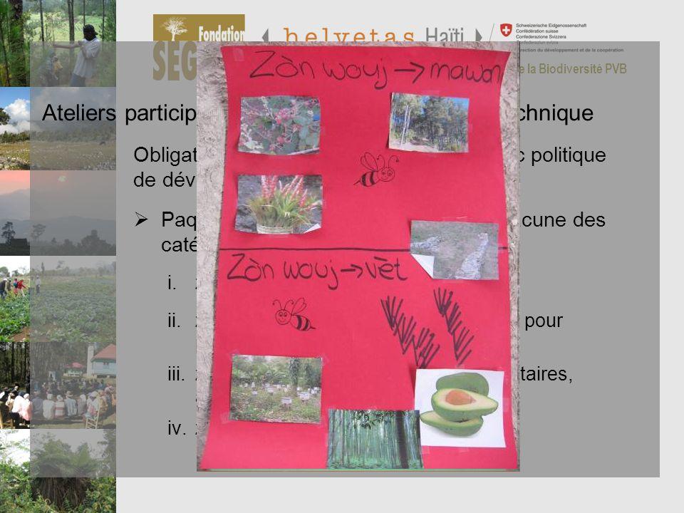 Programme de Préservation et de Valorisation de la Biodiversité PVB Ateliers participatifs de restitution du zonage technique Résultats Paquets techno
