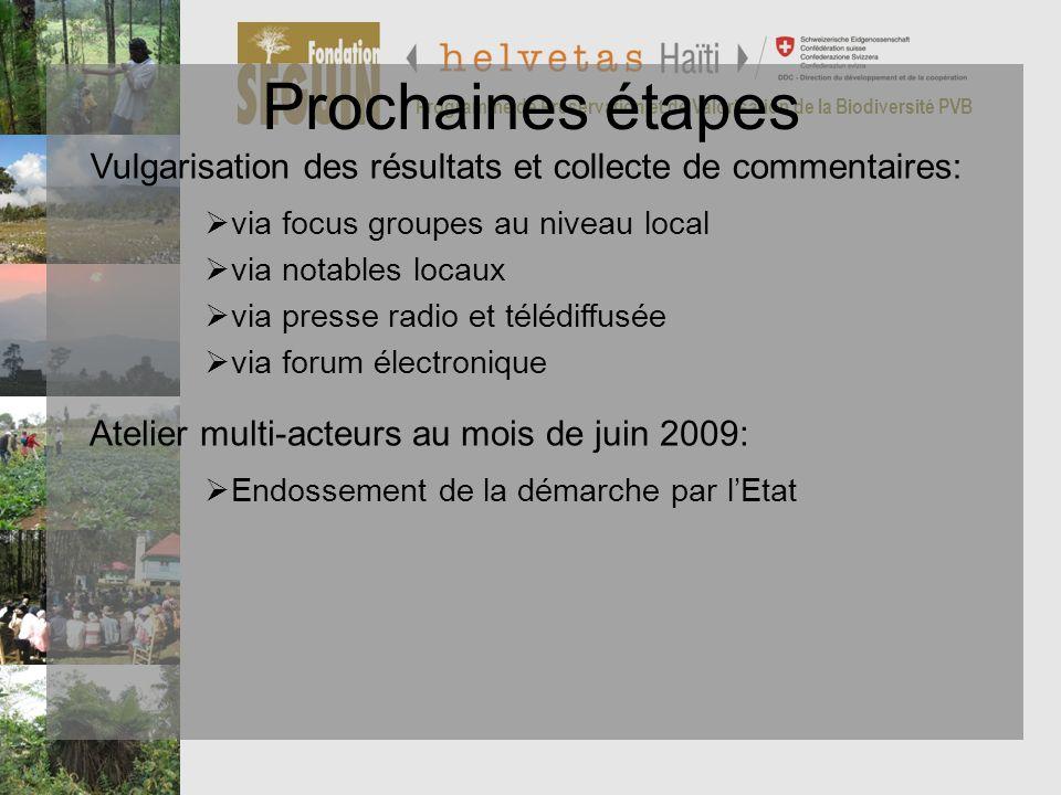 Programme de Préservation et de Valorisation de la Biodiversité PVB Prochaines étapes via focus groupes au niveau local via notables locaux via presse