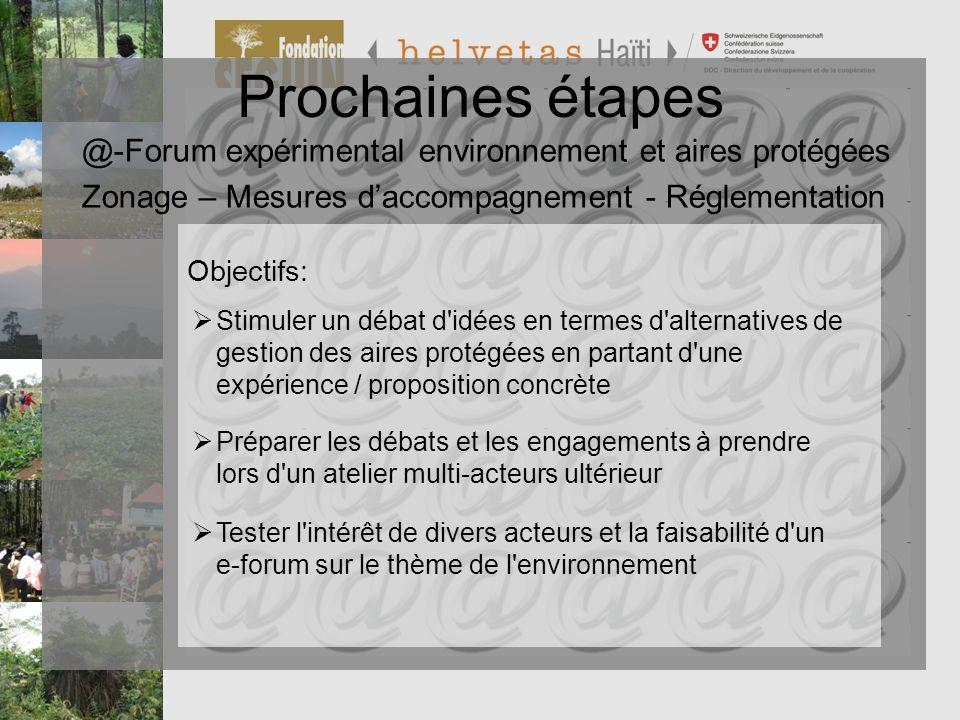 Programme de Préservation et de Valorisation de la Biodiversité PVB Prochaines étapes @-Forum expérimental environnement et aires protégées Zonage – M