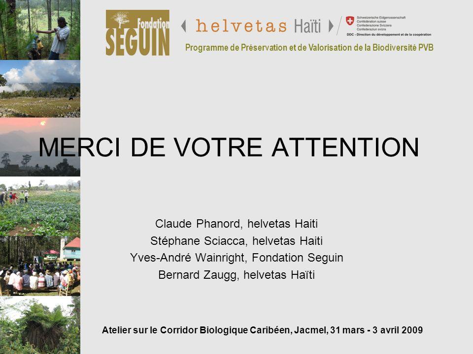 Programme de Préservation et de Valorisation de la Biodiversité PVB MERCI DE VOTRE ATTENTION Claude Phanord, helvetas Haiti Stéphane Sciacca, helvetas