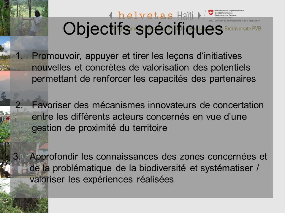 Programme de Préservation et de Valorisation de la Biodiversité PVB Objectifs spécifiques 1.Promouvoir, appuyer et tirer les leçons dinitiatives nouve