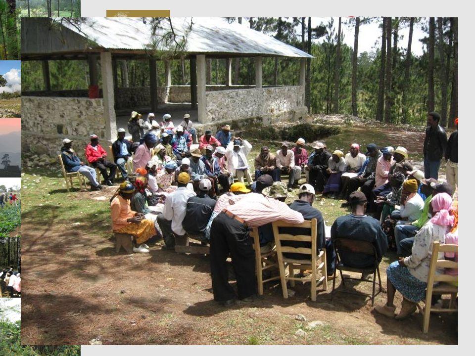 Programme de Préservation et de Valorisation de la Biodiversité PVB Inventaire forestier en zone marron Résultats Carte des types de forêt de pin et des « rak bwa » (orthophotos datant de 2002) Volume sur pied et densité par type de forêt (strate) et par classe de diamètre Rajeunissement naturel et arbustes Etat sanitaire et dégâts (le bois gras, les feux …) Produits forestiers non ligneux (listes, utilisations et présence dans la forêt) Accroissements annuels moyens (en diamètre et en volume) de lespèce Pinus occidentalis Modélisation simple de la croissance de la forêt Evolution du couvert forestier entre 1978 et 2002 131TOTAL environ 1% des arbres par an Dégâts dus à des causes naturelles (maladies, évènements climatiques…) Tout le rajeunissement (chaque décennie) Dégâts dus aux feux de sous-bois 49 Exploitation pour le bois de feu ou le bois dœuvre 52Exploitation pour le bois gras Equivalent en arb/haType de pression / dégâts 25-40 ans