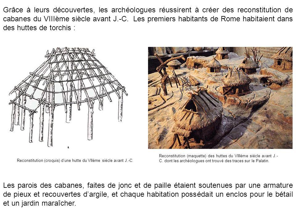 Reconstitution (maquette) des huttes du VIIIème siècle avant J.- C. dont les archéologues ont trouvé des traces sur le Palatin. Reconstitution (croqui