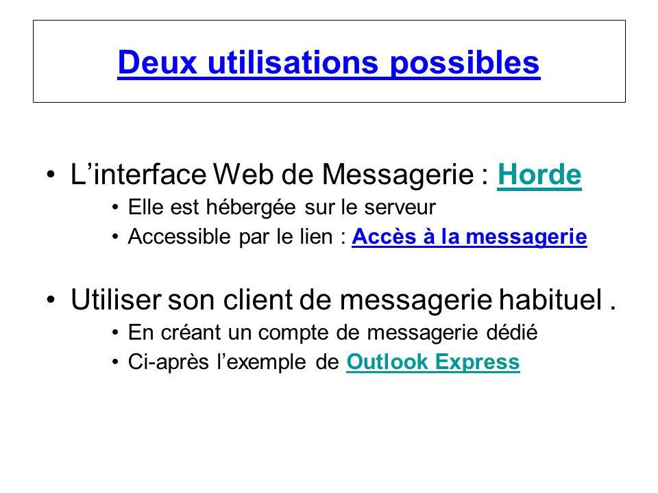 Deux utilisations possibles Linterface Web de Messagerie : HordeHorde Elle est hébergée sur le serveur Accessible par le lien : Accès à la messagerie