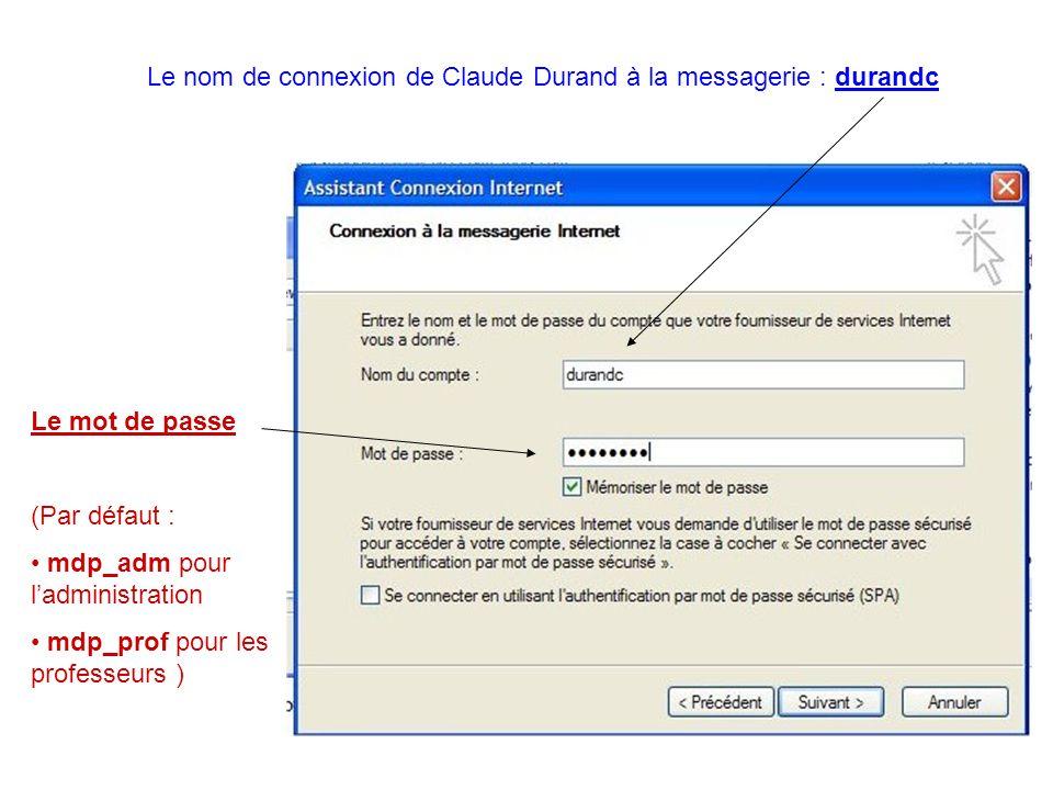 Le nom de connexion de Claude Durand à la messagerie : durandc Le mot de passe (Par défaut : mdp_adm pour ladministration mdp_prof pour les professeur