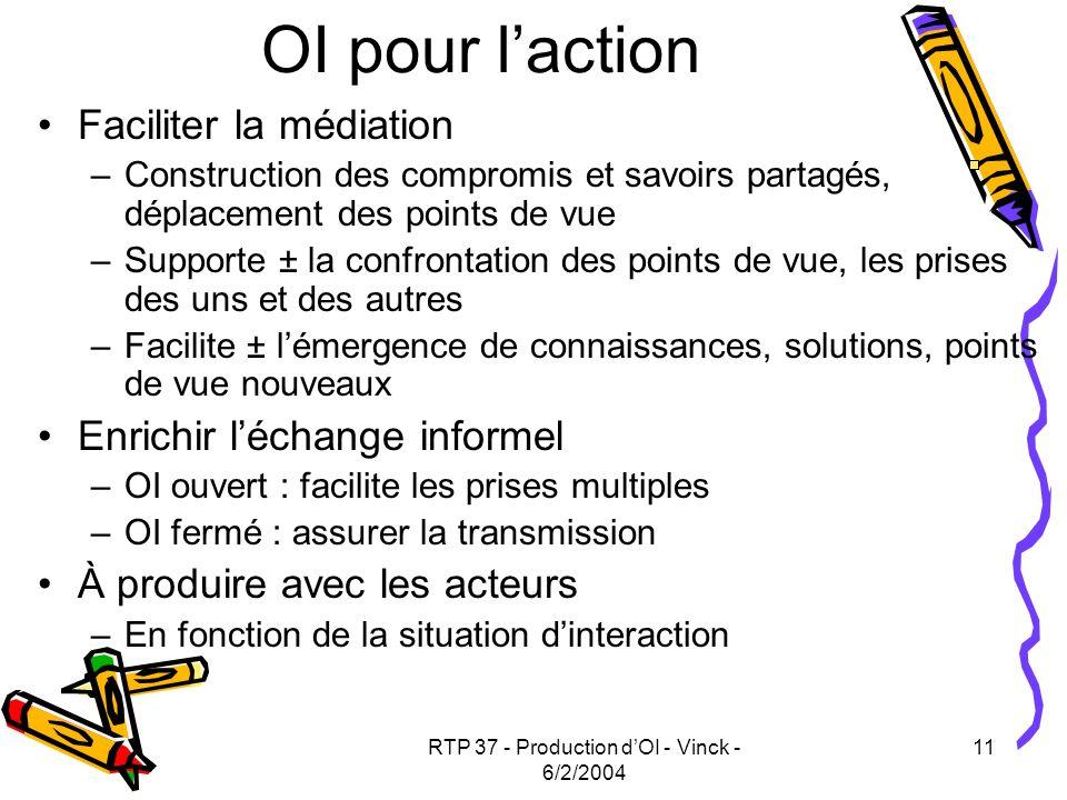 RTP 37 - Production dOI - Vinck - 6/2/2004 11 OI pour laction Faciliter la médiation –Construction des compromis et savoirs partagés, déplacement des