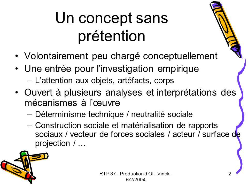 RTP 37 - Production dOI - Vinck - 6/2/2004 13 Déplacements majeurs (2) Attention portée Aux objets en situation de médiation : Processus cognitifs collectifs (C.Brassac, N.Grégory, D.Vinck) Représentations de lespace (S.Lardon, F.Le Ber) Planification et ordonnancement (I.Bazet, G.