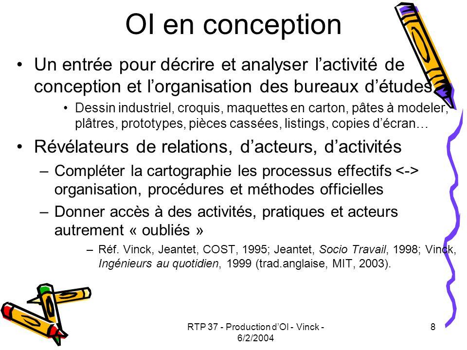 RTP 37 - Production dOI - Vinck - 6/2/2004 8 OI en conception Un entrée pour décrire et analyser lactivité de conception et lorganisation des bureaux