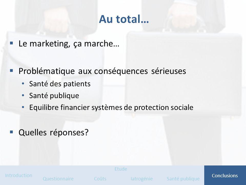 Au total… Le marketing, ça marche… Problématique aux conséquences sérieuses Santé des patients Santé publique Equilibre financier systèmes de protecti