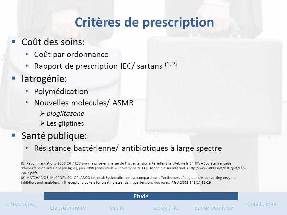 Critères de prescription Coût des soins: Coût par ordonnance Rapport de prescription IEC/ sartans (1, 2) Iatrogénie: Polymédication Nouvelles molécule