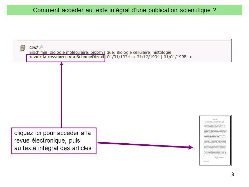 8 Comment accéder au texte intégral dune publication scientifique ? cliquez ici pour accéder à la revue électronique, puis au texte intégral des artic