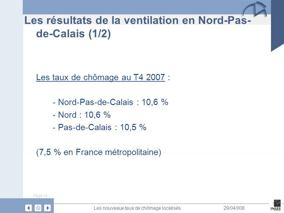 Page 14 Les nouveaux taux de chômage localisés29/04/008 Les résultats de la ventilation en Nord-Pas- de-Calais (1/2) Les taux de chômage au T4 2007 : - Nord-Pas-de-Calais : 10,6 % - Nord : 10,6 % - Pas-de-Calais : 10,5 % (7,5 % en France métropolitaine)