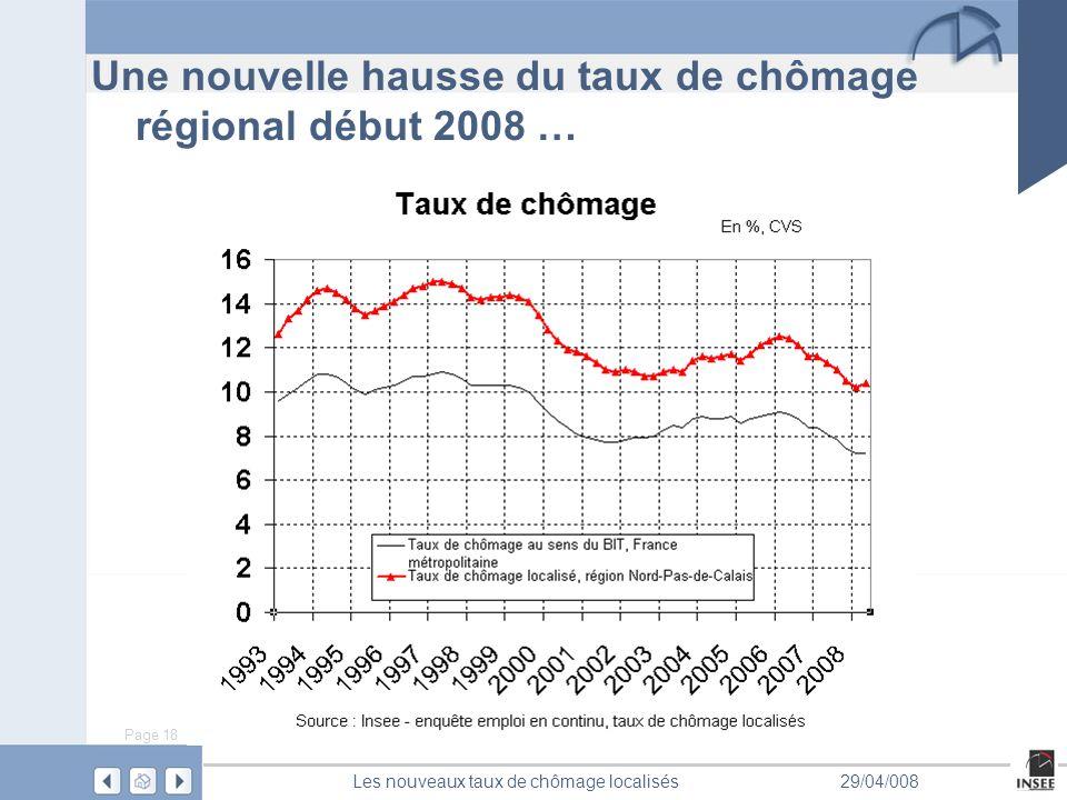 Page 18 Les nouveaux taux de chômage localisés29/04/008 Une nouvelle hausse du taux de chômage régional début 2008 …