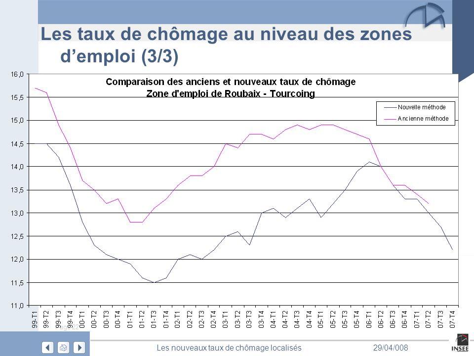 Page 22 Les nouveaux taux de chômage localisés29/04/008 Les taux de chômage au niveau des zones demploi (3/3)