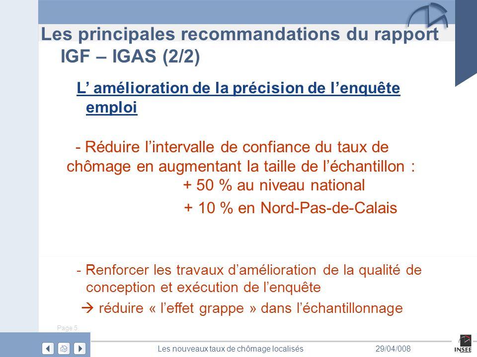 Page 5 Les nouveaux taux de chômage localisés29/04/008 Les principales recommandations du rapport IGF – IGAS (2/2) L amélioration de la précision de lenquête emploi - Réduire lintervalle de confiance du taux de chômage en augmentant la taille de léchantillon : + 50 % au niveau national + 10 % en Nord-Pas-de-Calais - Renforcer les travaux damélioration de la qualité de conception et exécution de lenquête réduire « leffet grappe » dans léchantillonnage