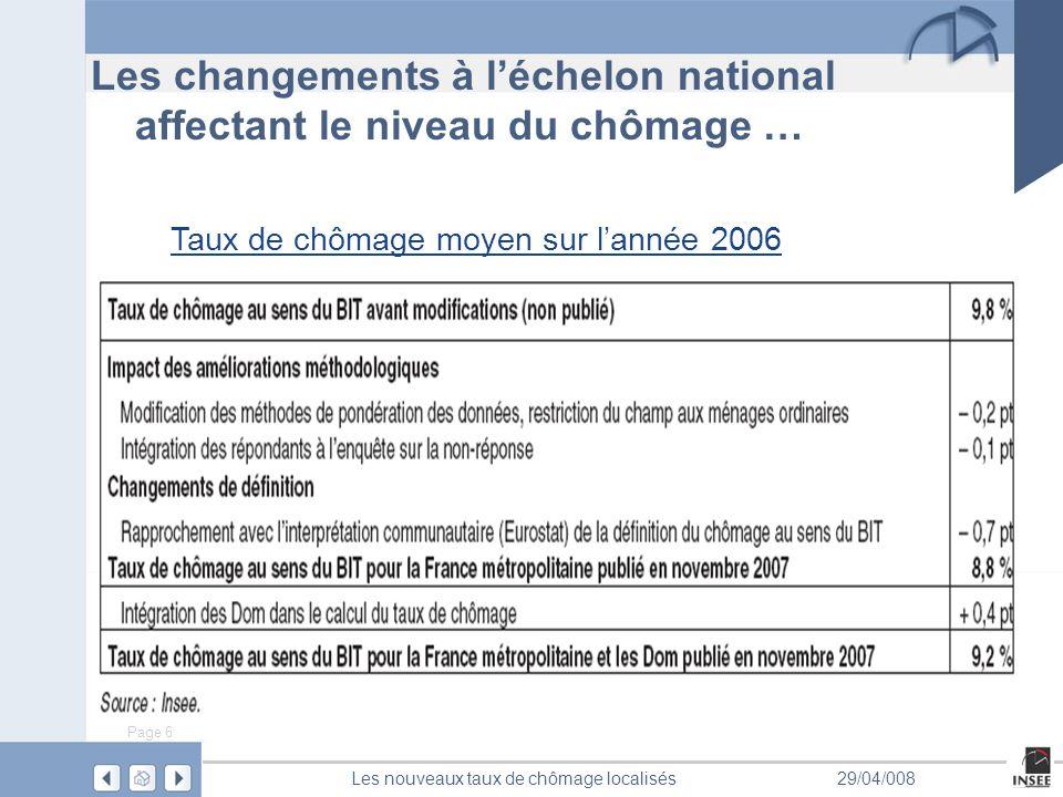 Page 6 Les nouveaux taux de chômage localisés29/04/008 Les changements à léchelon national affectant le niveau du chômage … Taux de chômage moyen sur lannée 2006